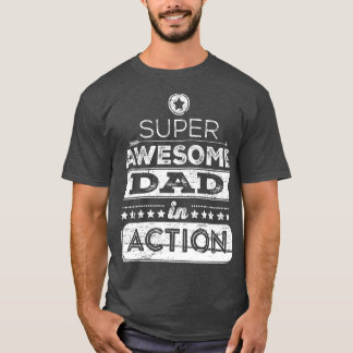 Super Awesome Dad In Action (Hipster Style) Dark T-Shirt