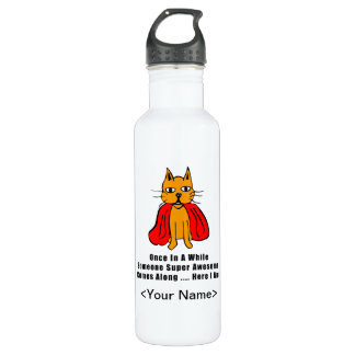 Super Awesome Orange Cat with Red Cape 24oz Water Bottle