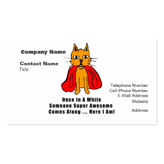 Super Awesome Orange Cat with Red Cape Double-Sided Standard Business Cards (Pack Of 100)