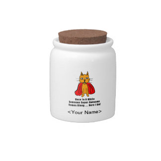 Super Awesome Orange Cat with Red Cape Candy Jar