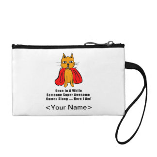 Super Awesome Orange Cat with Red Cape Coin Purse