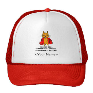 Super Awesome Orange Cat with Red Cape Trucker Hat