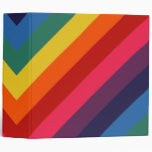 Super Awesome Retro Rainbow 3 Ring Binder