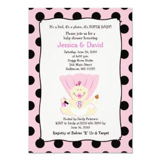 SUPER BABY GIRL Baby Shower Invitation 5x7