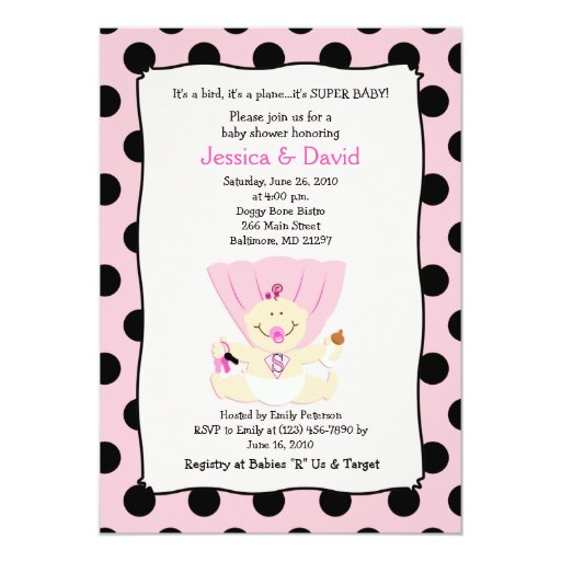 SUPER BABY GIRL Baby Shower Invitation 5x7