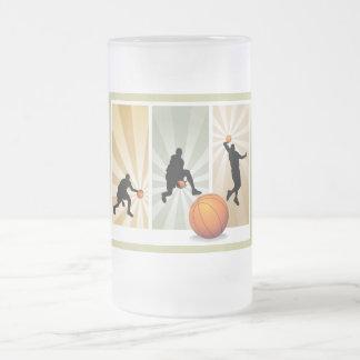 super-basketball frosted glass beer mug