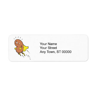 super bean cartoon character return address label