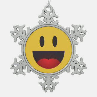 Super big smile emoji snowflake pewter christmas ornament