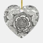 Super Black and White Mandala Pattern Ceramic Ornament