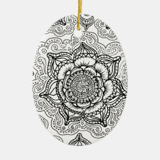 Super Black and White Mandala Pattern Ceramic Ornament