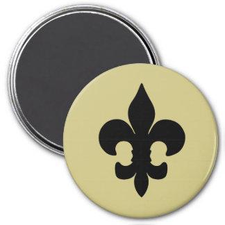 Super Black Fleur de lis 3 Inch Round Magnet