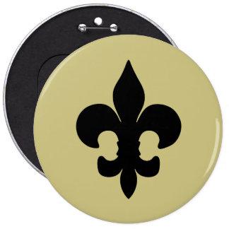 Super Black Fleur de lis 6 Inch Round Button