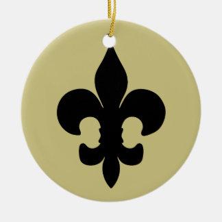 Super Black Fleur de lis Double-Sided Ceramic Round Christmas Ornament