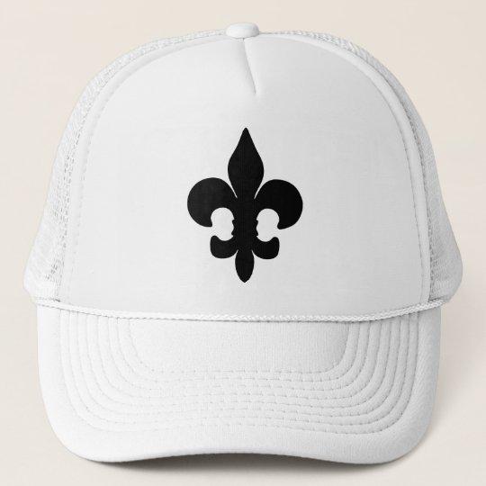 Super Black Fleur de lis Trucker Hat