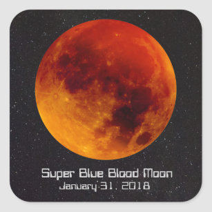 Super Blue Blood Moon 2018 Square Sticker