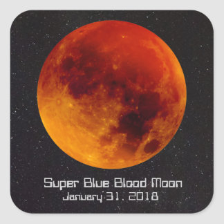 Super Blue Blood Moon 2018 Square Sticker