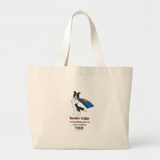 Super Border Collie Black Large Tote Bag