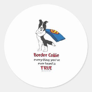 Super Border Collie Black Classic Round Sticker