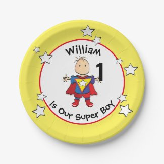 Super Boy Any Age Birthday Party Plate