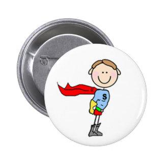 Super Boy Stick Figure Button