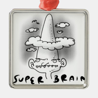 super brain cartoon style illustration metal ornament