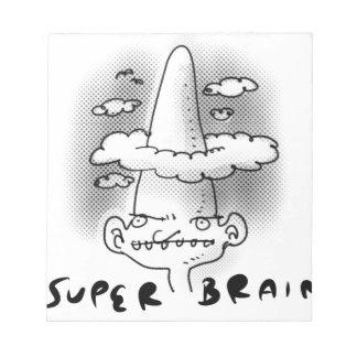 super brain cartoon style illustration notepad