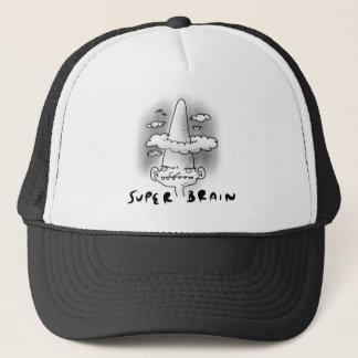 super brain cartoon style illustration trucker hat