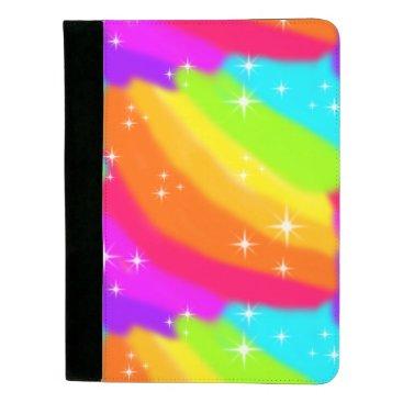 Beach Themed Super Bright Neon Rainbow Shiny Sparkles Padfolio