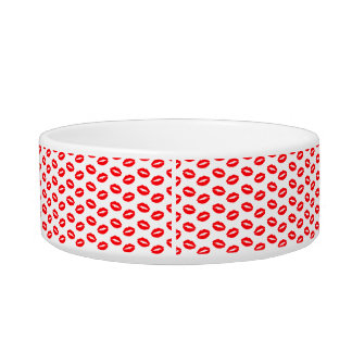Super Bright Neon Red Lips On White Bowl