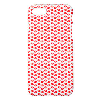 Super Bright Neon Red Lips On White iPhone 7 Case