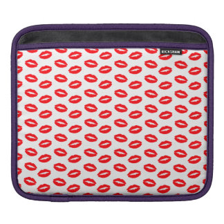 Super Bright Neon Red Lips On White Sleeve For iPads