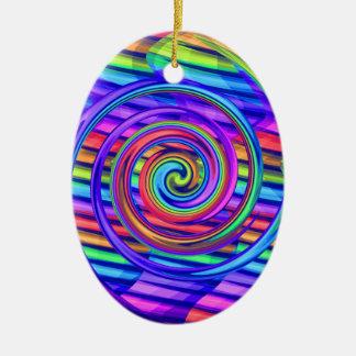 Super Bright Rainbow Spiral With Stripes Design Ceramic Ornament