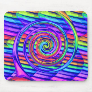 Super Bright Rainbow Spiral With Stripes Design Mouse Pad