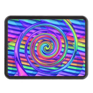 Super Bright Rainbow Spiral With Stripes Design Hitch Covers