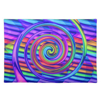 Super Bright Rainbow Spiral With Stripes Design Place Mats