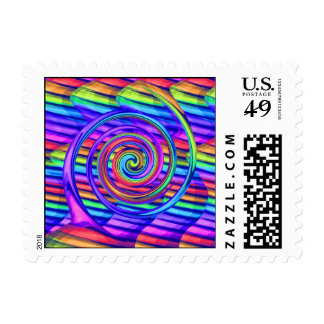 Super Bright Rainbow Spiral With Stripes Design Postage Stamps
