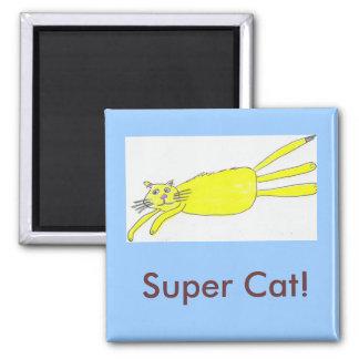 Super Cat! 2 Inch Square Magnet