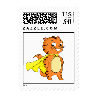 Super Cat Cartoon Postage