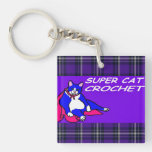 SUPER CAT CROCHET ACRYLIC KEYCHAINS