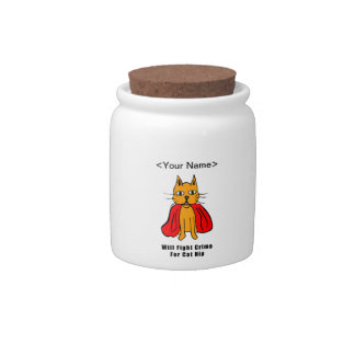 Super Cat Fight Crime For Catnip ( add your name ) Candy Jar