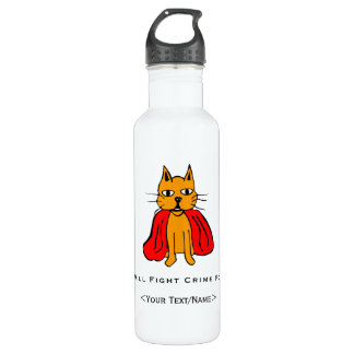 Super Cat Fight Crime For <Your Text/Name> 24oz Water Bottle