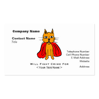 Super Cat Fight Crime For <Your Text/Name> Double-Sided Standard Business Cards (Pack Of 100)