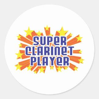 Super Clarinet Player Round Stickers