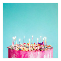 Super Colorful Birthday Cake Invitation