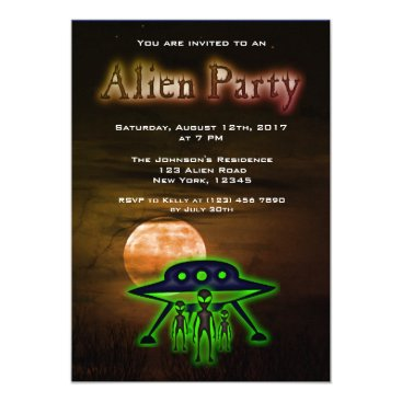 Halloween Themed Super Cool Alien & UFO Party Invite