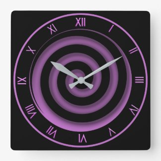 Super Cool Black and Orchid Spiral Wall Clock