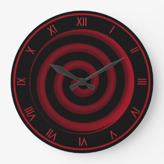 Super Cool Black and Red Spiral Wall Clock
