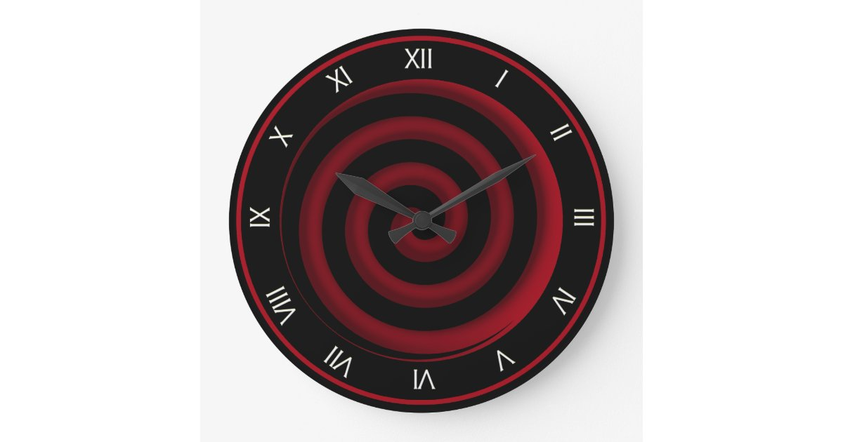 Super cool black and red spiral wall clock zazzle for Red and black wall clock