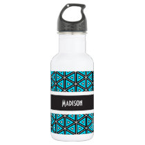 Super Cool Blue Abstract w/Name Stainless Steel Water Bottle