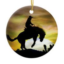 Super Cool Bucking Horse Cowboy Ceramic Ornament